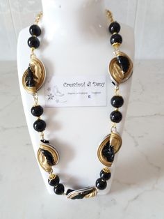 Nero e oro Nescafe, Adele, Coffee Cups, Polymer Clay, Beaded Necklace, Beads, Jewelry, Upcycling, Pendants