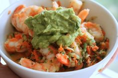 Shrimp protein salad with carrot, cucumber, honey, lemon, basil, and guac. Perfect to take for lunch