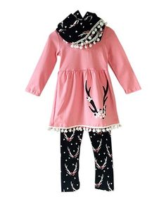 Another great find on #zulily! Pink Antler A-Line Dress Set - Infant, Toddler & Girls #zulilyfinds