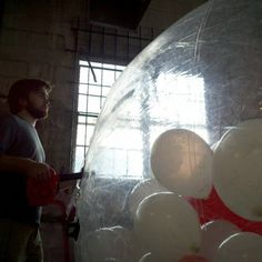 We had to inflate the zorb 10 to 15 times to fit all the balloons inside.