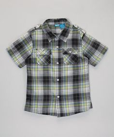 Take a look at this Black & Green Plaid Button-Up - Infant, Toddler & Boys by French Toast on #zulily today!