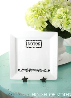 Fun Idea for your office or kitchen!  Just buy a white plate, picture frame stand, some black decals, and a dry erase marker :-)