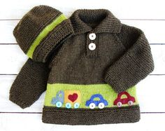Baby Boys Sweater - Infant Boy Clothes - Hat and Sweater Set 100% Merino Wool Brown and Green Sweater with Car Appliques