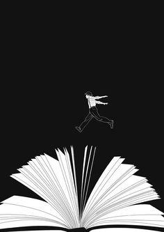 Jumping on reading / Saltando sobre la lectura (ilustración de Luo Qianxi)