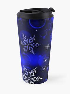 """Royal Blue Snowflake Motif"" Travel Mug by HavenDesign   Redbubble My Coffee, Coffee Mugs, Christmas Themes, Christmas Gifts, Travel Mugs, Holiday Treats, Snowflakes, Party Supplies, Royal Blue"