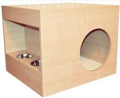 Foto 2 - Caminha alta com guarda ração Modern Dog Houses, Pallet Dog Beds, Dog House Plans, Puppy House, Dog Furniture, Cat Room, Paint Colors For Living Room, Animal Projects, Pet Home