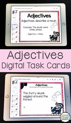 These digital task cards work great for grammar mini-lessons or review. Students find the adjectives in the sentence. These can be assigned in Google Classroom or used on an interactive whiteboard in a second grade classroom. #techinprimary #googleclassroom #literacycenters #secondgrade #adjectives #grammar Adjectives Activities, Grammar Activities, Teaching Grammar, Writing Activities, Teaching Resources, Teaching Ideas, Student Teaching, Adjectives Grammar, Grammar Lessons