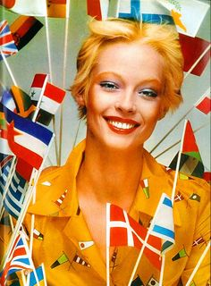 Olympic Beauty by artemis.niarchos on Flickr.  Juvena was the official make-up artists of the Munich Olympics. Model, Mouche. Photo by Barry Lategan. Vogue August 1972.