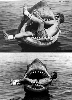 Some behind the scenes shots from the set of Jaws (1975). Movie was based on Peter Benchleys novel and directed by Steven Spielberg. Artworks by Andy Fairhurst (Buy HERE) and Colo Design (Buy HERE) Did you know that Spielberg laughed at John Williams the first time he heard the original score composed for Jaws? He didnt believe it was suitable for his movie. Later on he admitted that the movie wouldnt be the same without. Did you know that Youre gonna need a bigger boat was not scripted but…
