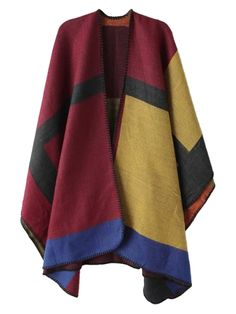 Get in on the colorful poncho trend in time to hide your holiday feasting tummy!