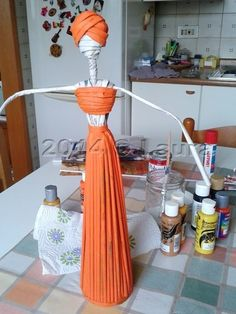 How to make african statuette made with paper straws – Easy Craft Ideas