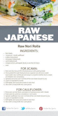 Raw Japanese Nori Rolls Cooking Demo @Purdue Rec Sports