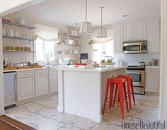 Keller Donovan Kitchen - Before & After Kitchen Makeover - House Beautiful Kitchen Stools, Red Kitchen, Kitchen Decor, Kitchen Ideas, Bar Stools, Kitchen Tips, Kitchen Layouts, Kitchen Cabinets, Ranch Kitchen