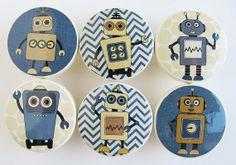 Navy Robot Knobs, Chevron Robot Knobs, Boy's Navy Blue Robot Drawer Knobs- Wood Knobs- 1 1/2 Inches - Set of 6