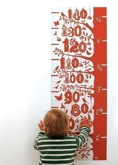Grow Chart by boldandnoble: Hand pulled screen print. Measures 35 x 97cm. Also available in Azure Blue. #Grow_Chart #Kids #boldandnoble