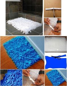 To make this rug, you will need old t-shirts, a mesh (can be purchased at Jo Ann Fabric & Craft stores or online), and scissors. Using the scissors, cut the t-shirts into very thin strips. Then start tying knots of the strips on the mesh. Keep on doing it until whole the mesh is covered with strips. You can do the same to a towel too. If you want, you can use a mix of different colored t-shirts. For a helpful tutorial with some varied suggestions, see…