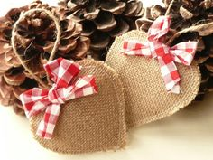 Pair of Hanging Scented Burlap Hearts