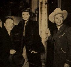 James Cagney in 1943 with Janet Blair and Roy Rogers upon returning from the President's Birthday Ball