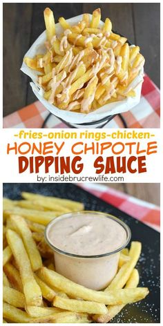 Honey and chipotle peppers give this yogurt dipping sauce a fun sweet and salty twist.  Perfect for serving with hot french fries.  #farmtoflavor #ad