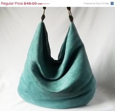 End of Spring SALE  Teal Hobo  Turquoise Vegan suede by ACAmour, $43.20