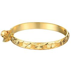 "UM Jewelry Gold Plated New Born Baby Bracelet Bangle for Infant with Charms Heart Leaf,Bell 5.31"" * Find out more about the great product at the image link."