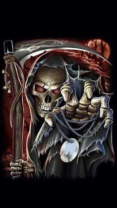 WALLPAPERS - Gothic, skulls, death, fantasy, erotic and animals: death Grim Reaper Art, Don't Fear The Reaper, Dark Reaper, Dark Fantasy Art, Dark Art, Totenkopf Tattoos, Skull Pictures, Skull Artwork, Skull Wallpaper
