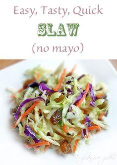 Easy, Tasty, Quick Slaw (no mayo) from Karina Gluten-Free Goddess #vegan