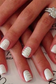 cute idea for wedding nails instead of just a french manicure. Silver on White Nails - Wedding Day Nails, Wedding Manicure, Wedding Nails Design, Manicure And Pedicure, Sparkle Wedding, Manicure Ideas, White Manicure, Glitter French Manicure, Wedding Gold