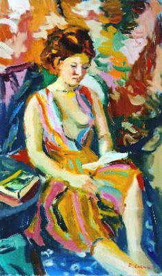 Cornu, Pierre (1895-1996) Janet a la robe imprimée bleue