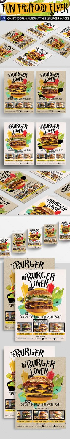 Fun Fast Food Flyer — Photoshop PSD #fun menu #branding • Download ➝ https://graphicriver.net/item/fun-fast-food-flyer/18950600?ref=pxcr