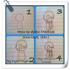 How to daw Meeblee Sherlock (bbc) By Kyah T. # cute drawing # how to draw Sherlock #sherlock bbc