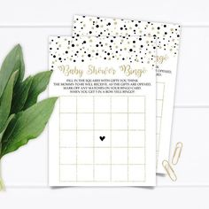 Baby Shower Bingo, Beautiful Baby Shower, Gold Confetti, Black Babies, Bingo Cards, The Perfect Touch, Card Games, Black Gold, Card Stock