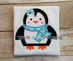 Winter Penguin Applique - 4 Sizes! | Winter | Machine Embroidery Designs | SWAKembroidery.com Stitch Away Applique