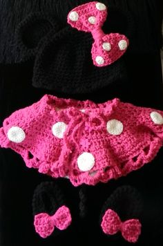 Hand Crochet Baby Girl Minnie Mouse Outfit Cap by picoloknitting, $50.00
