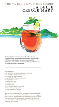 The La Belle Creole Mary at The St. Regis Mauritius Resort #Cocktails #Travel