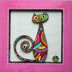 """Un tableau du chat """"Papillon"""" haut en couleurs : Décorations murales par sylphide"""