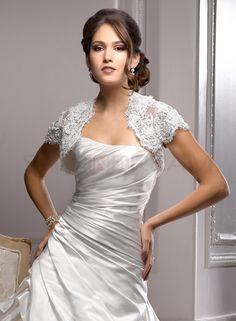 Lace Short Sleeve Ivory Wedding Jacket - US$49.99