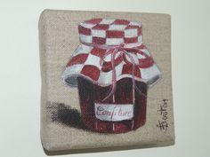 Peinture sur lin ,pot de confiture , Jeany Bouton
