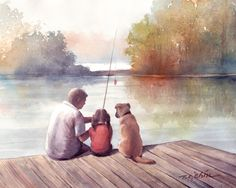 Father and Daughter Art Print of Watercolor Painting,Girl, Dog, Friend, Fishing, Child, Childhood, Friend, Friendship, Girl's Room