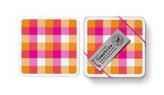 Half A Dozen Drinks Coasters - Orange/ Hot Pink Tartan - Mac & Ninny Paper Company