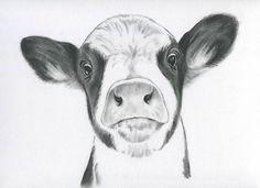 Impresión de retrato Casa Decor arte de vaca vaca dibujo de