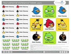 Angry Birds  Your personal waterproof labels 68 Qty Free