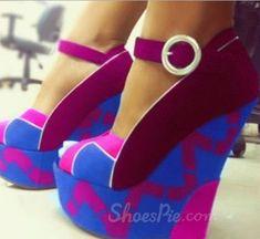 Fashionable Contrast Colour Wedge Heel Platform Shoes