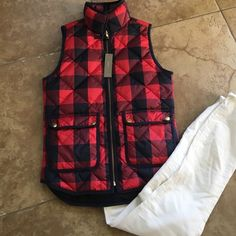 J Crew size xxs red and navy buffalo check NWT J crew new with tags size XX small red and navy Buffalo check Vest. Perfect condition. J. Crew Jackets & Coats Vests