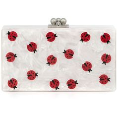 Edie Parker Jean Ladybug Box Clutch Bag ($1,295) ❤ liked on Polyvore featuring bags, handbags, clutches, white, acrylic box clutch, white purse, locking purse, kiss-lock handbags and box clutch