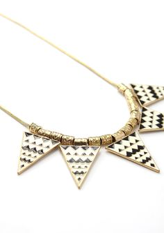 Triangle Aztec Enamel Necklace in black and white