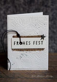 der kleine klecks Frohes Fest- Weihnachtskarte - Christmas card -  Stempel Luftpost vom Nordpol - Charlie & Paulchen Sternstanze Artsy - Kesi´Art Metaliks Pine Needles Embossing Folder Richard Garay