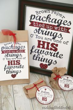 THESE ARE SO CUTE! Brown Paper Packages Free Printables & Gift Tags: #LIGHTtheWORLD for Christmas or secret service!