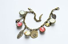 Shabby chic The bracelet pendants made of metal brass by OhKsushop