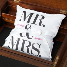 M and M in Pink Personalized Ring Pillow